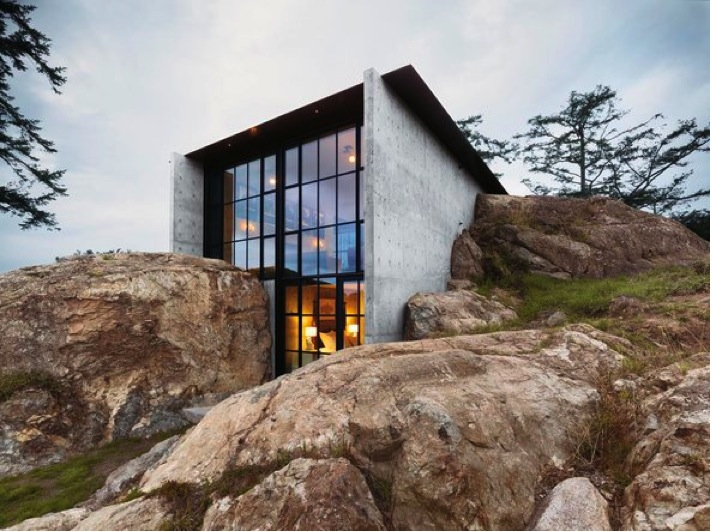 Concrete House Embedded In Pacific Ocean Rock