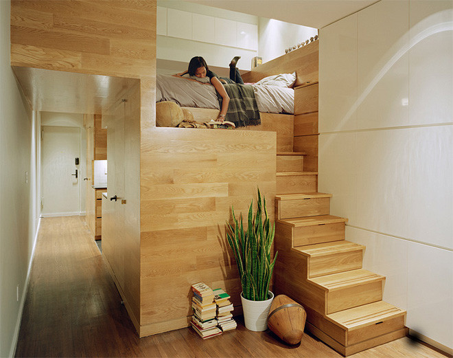 Studio Apartment Design Ideas studio apartment design ideas Stairs As Storage Bed Tucked Away On The Landing A Bit Like The Design Of A Boat This Flat Has Some Very Clever Ideas
