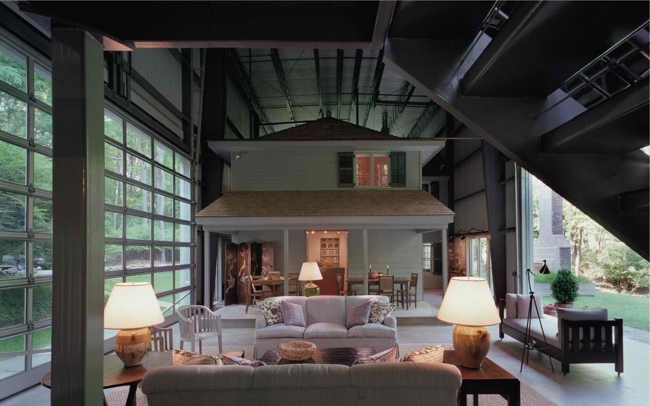 Vintage home inside a giant industrial shed for Home built house