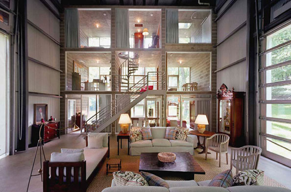 vintage home inside a giant industrial shed. Black Bedroom Furniture Sets. Home Design Ideas
