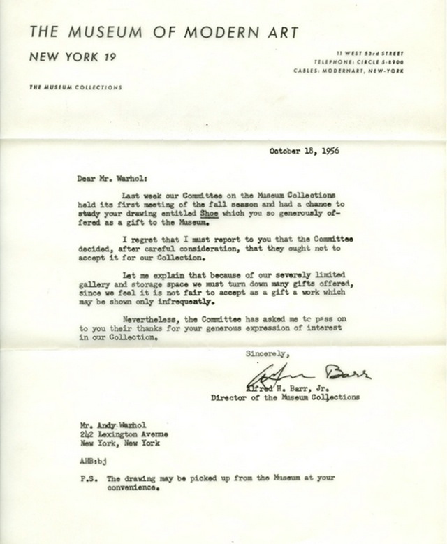 A letter of rejection to andy warhol c1956 thecheapjerseys Images