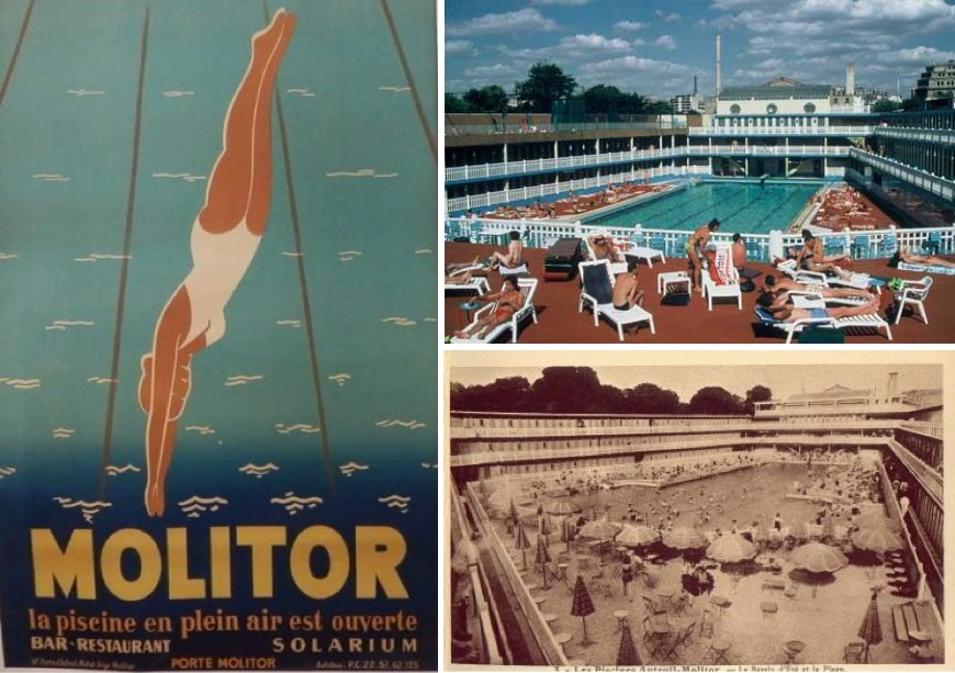 reviving the abandoned life of pi art deco pool in paris pictured above is the handsome johnny weissmuller the olympic medallist swimmer who inaugurated the pool in 29 on the right is micheline bernardini