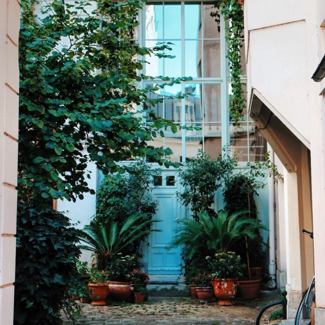 Still hanging onto summer in this artists courtyard Paris windows
