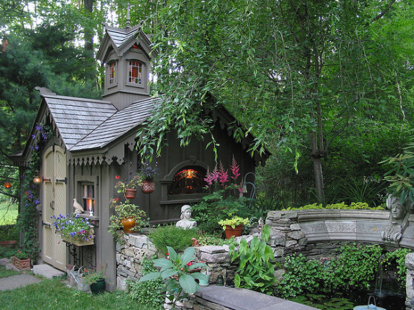 20 wendy houses for the peter pan in you for Victorian garden shed designs