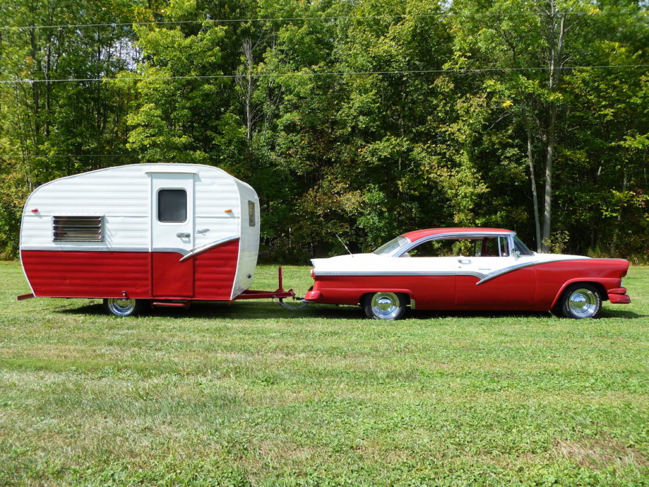 1 Ruby Red 1956 Platt Camper And Ford Victoria Combo