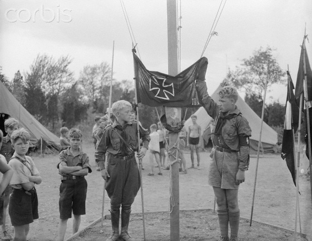 American Bund Camp:Nazi Youth Salute Hindenburg 1934