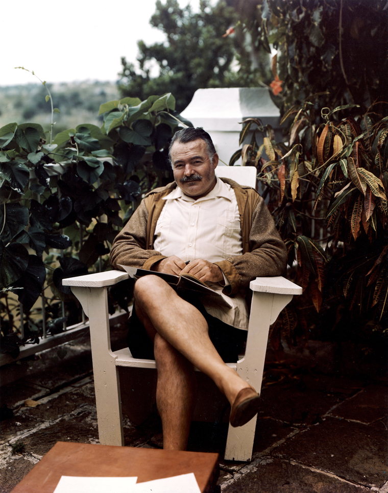 EH-C717T  Ernest Hemingway at his home in Cuba, the Finca Vigia, circa 1947. Photograph in the Ernest Hemingway Photograph Collection, John F. Kennedy Presidential Library and Museum, Boston.