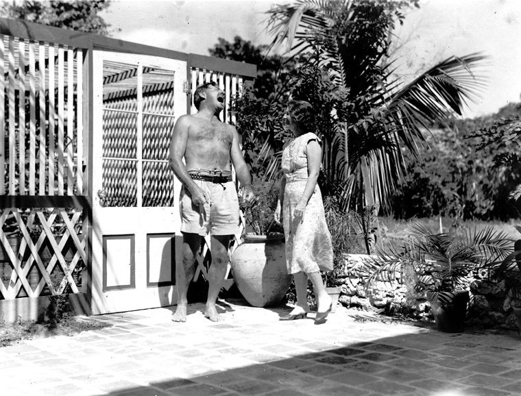 EH 5702P  not dated  Ernest and Pauline Hemingway at the Hemingway's Key West home. Photograph in the Ernest Hemingway Photograph Collection, John F. Kennedy Presidential Library and Museum, Boston.