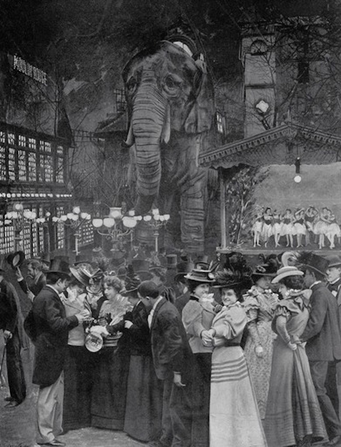 The forgotten elephant of the moulin rouge garden party for Garden design 1900