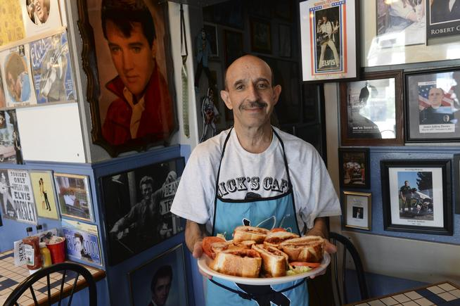 LAKEWOOD, CO - JULY 22: Nick Andurlakis first served a Fool's Gold peanut butter sandwich to Elvis at the Colorado Mining Company restaurant in 1976. Elvis liked it so much he once flew to Denver in his private jet to have another one. Nick runs Nick's Cafe in Lakewood and still has the Fool's Gold sandwich on the menu. Andulakis was photographed Tuesday afternoon, July 22, 2014. Photo by Karl Gehring/The Denver Post