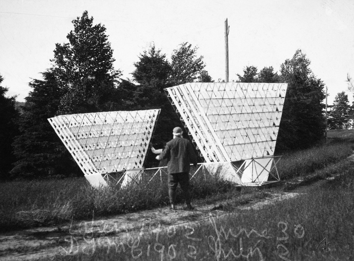 Cape Breton Island, Nova Scotia, Canada --- The multicellular giant kite designed by Alexander Graham Bell. --- Image by © Bell Collection/National Geographic Creative/Corbis