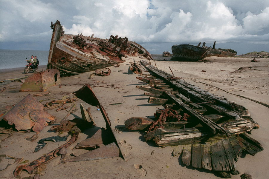 Remains of the fishing fleet once totaling more then 70 the ships.Aug. 2005