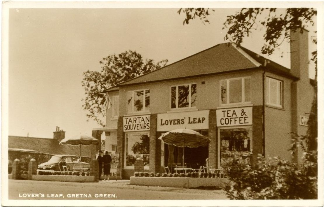 Old-Rare-Postcard-Lovers-Leap-Shop-Cafe-Gretna-Green
