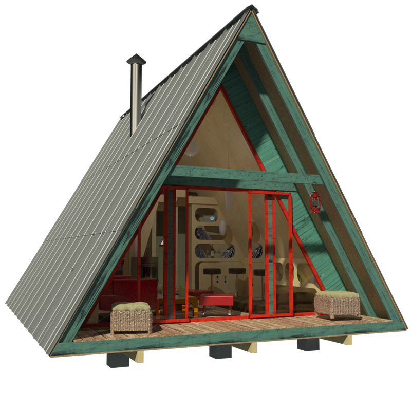 Here 39 s a menu of tiny houses for your weekend diy project for A frame building kits