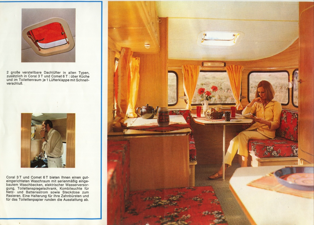 A brief compendium of vintage caravan brochures for Interieur 70 jaren