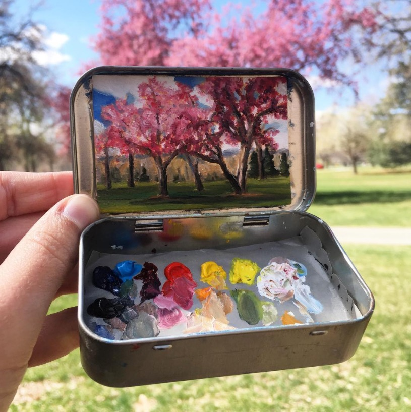 She paints tiny masterpieces in her empty altoids tins - Small tin girl ...