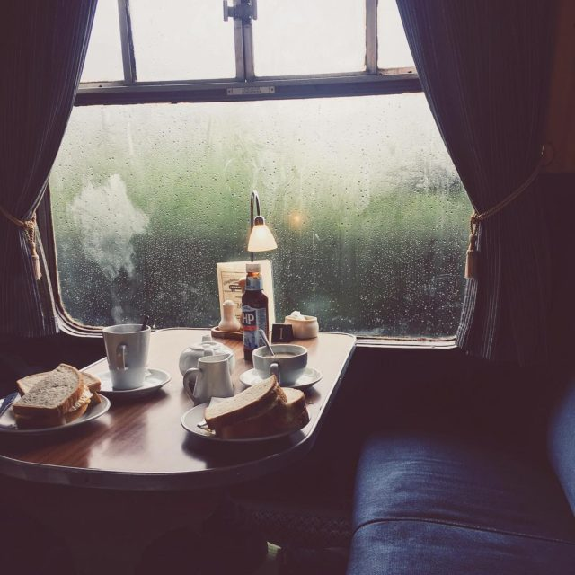 Breakfast aboard a 1950s converted railway carriage near the Harryhellip