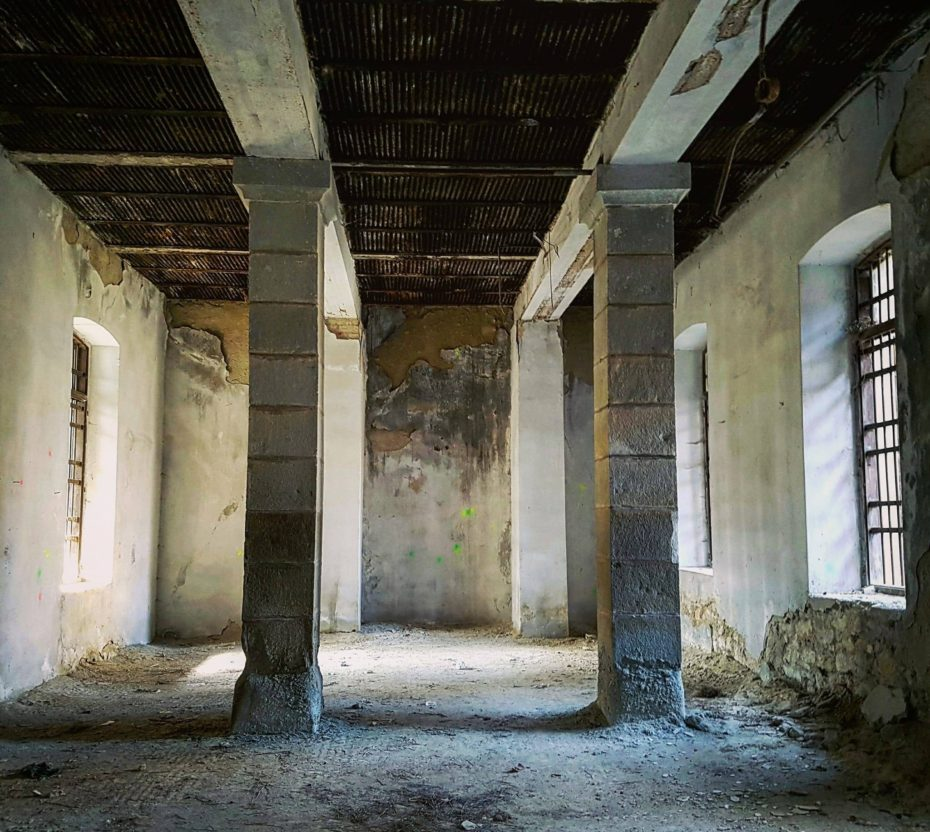 abandoned pillars in doftana prison romania