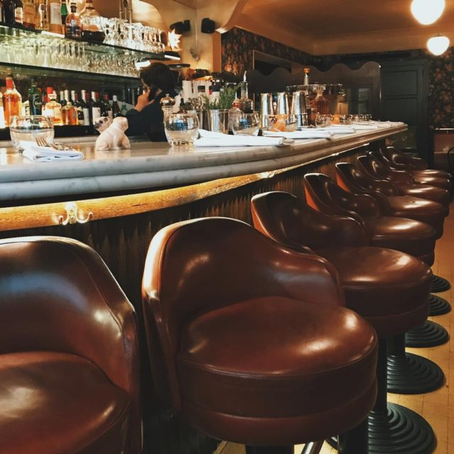 Best bar stools in Paris And that crispy prawn saladhellip