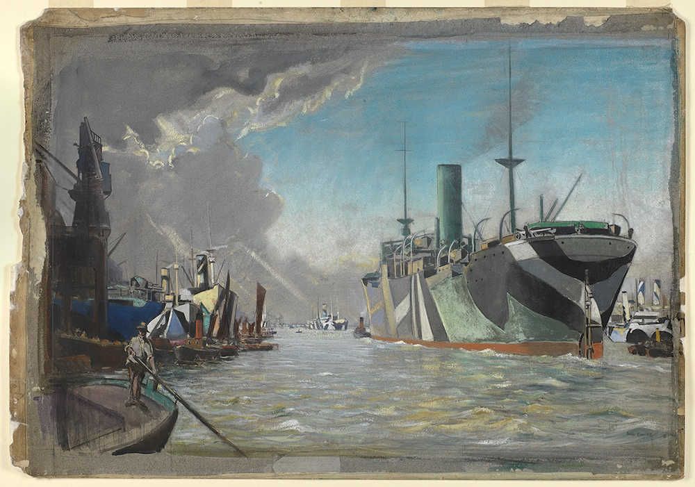 On London River 1918. Showing dazzle-painted steam vessels, also tugs and a bargeman PAH6702