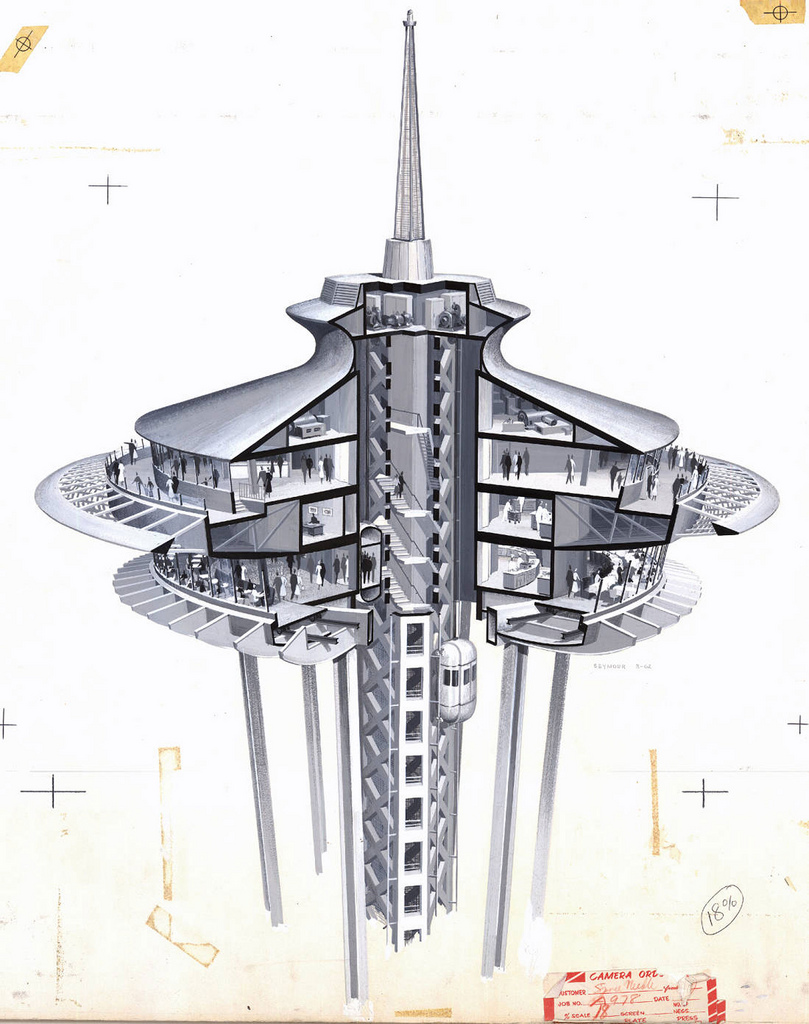 Century 21 Exposition (Seattle, Wash.), design for the Space Needle, cross section of restaurant by John Graham & Company