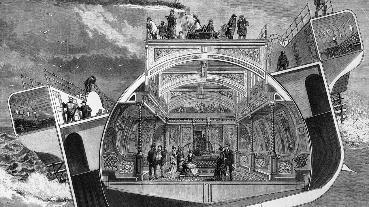 1875:  A cross section of the Bessemer Saloon Steamer which contains the self-trimming saloon designed by inventor and engineer Sir Henry Bessemer, and its lavish interior design. The saloon keeps level even though the ship is listing in a rough sea.  Graphic - pub. 1874  (Photo by Hulton Archive/Getty Images)