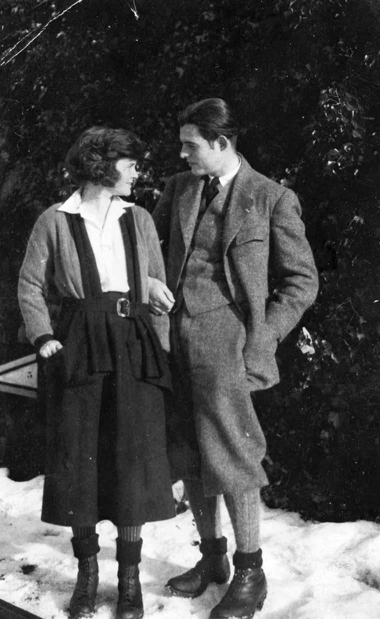 EH 8095P Winter, 1922 Ernest Hemingway and Hadley Hemingway in Chamby, Switzerland, 1922. Photograph in the Ernest Hemingway Photograph Collection, John F. Kennedy Presidential Library and Museum, Boston.