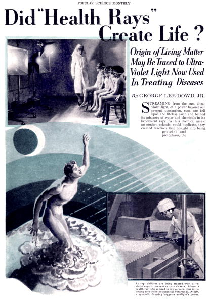 "Article by George Lee Dowd JR about ultraviolet rays benefit for health published in american magazine ""Popular science monthly"" in january 1931"