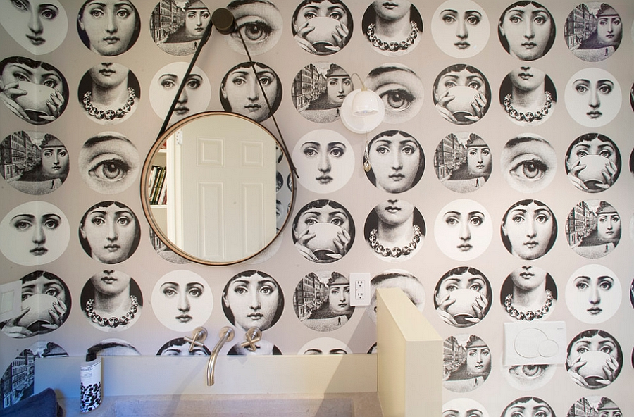Fornasetti-Tema-e-Variazioni-Wallpaper-in-the-contemporary-bathroom