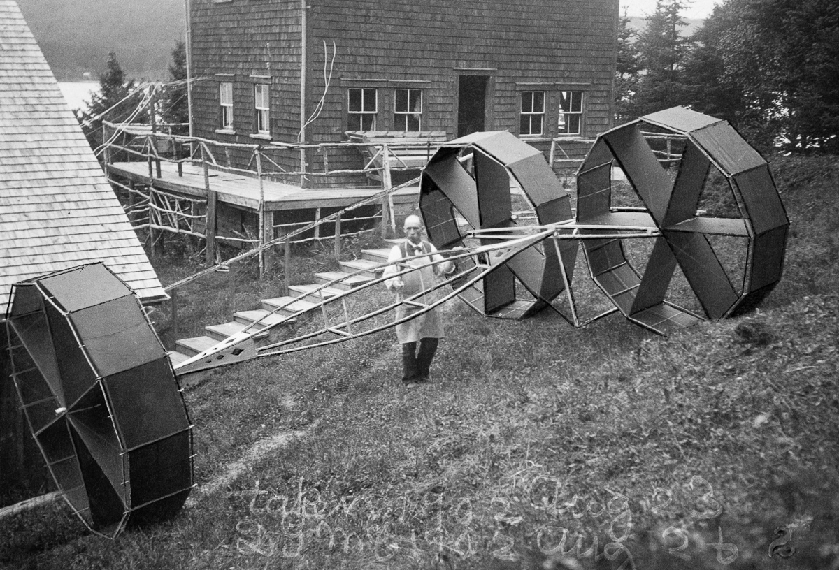 Cape Breton Island, Nova Scotia, Canada --- An Alexander Graham Bell scientific kite with three 12-sided cells. --- Image by © Bell Collection/National Geographic Creative/Corbis