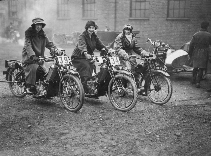 Vintage bikers and their women