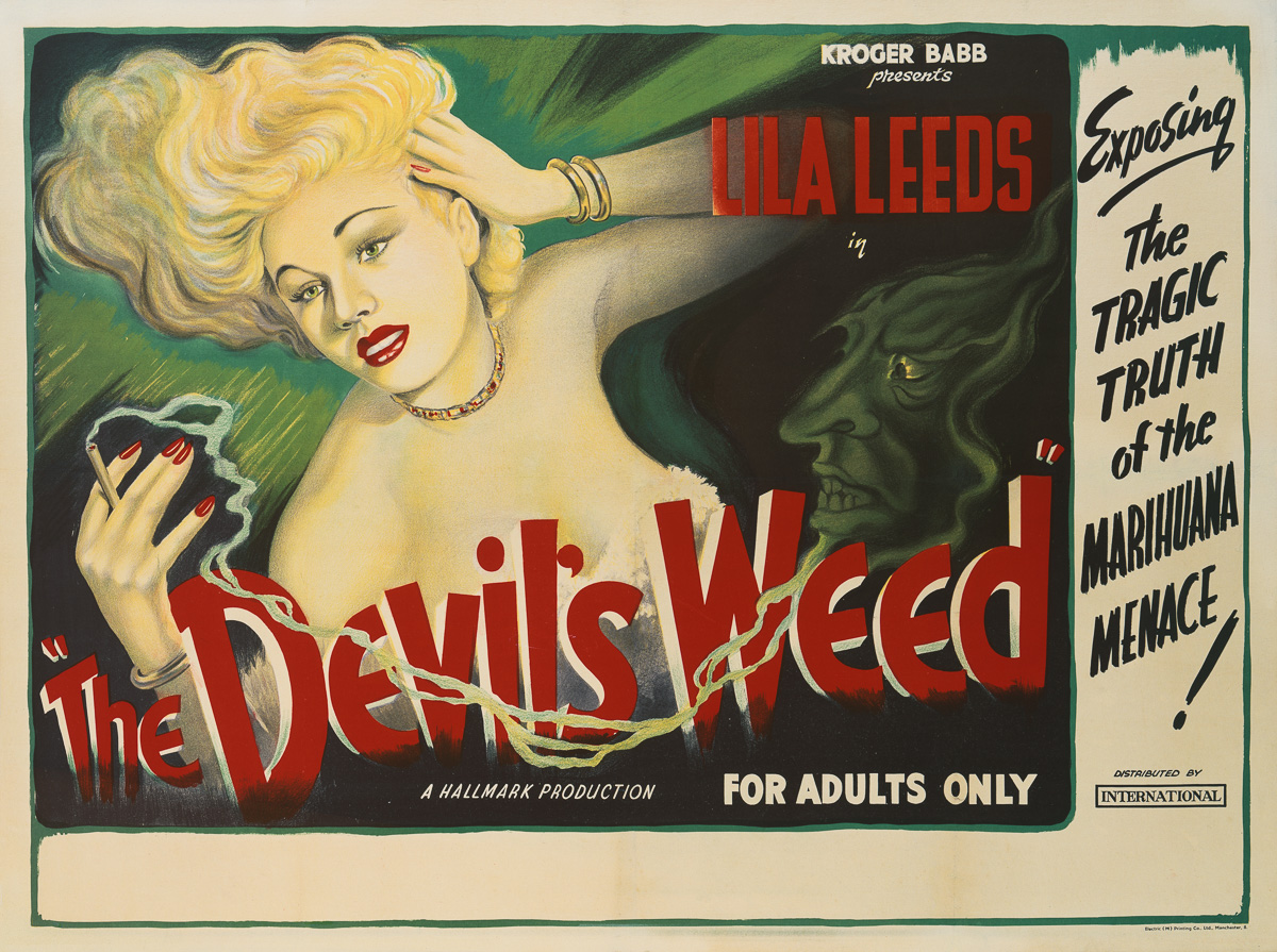 A poster for the British release of Sam Newfield's 1949 exploitation film, 'The Devil's Weed', starring Lila Leeds. The film's alternative titles are: 'She Shoulda Said 'No!', 'Marijuana, the Devil's Weed', and 'The Story of Lila Leeds and Her Expose of the Marijuana Racket'. (Photo by Movie Poster Image Art/Getty Images)