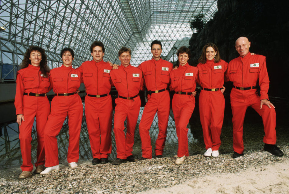 The first eight-member team of Biosphere II, before their enclosure in the artificial ecosystem. | Location: Biosphere II, Oracle, Arizona, USA.