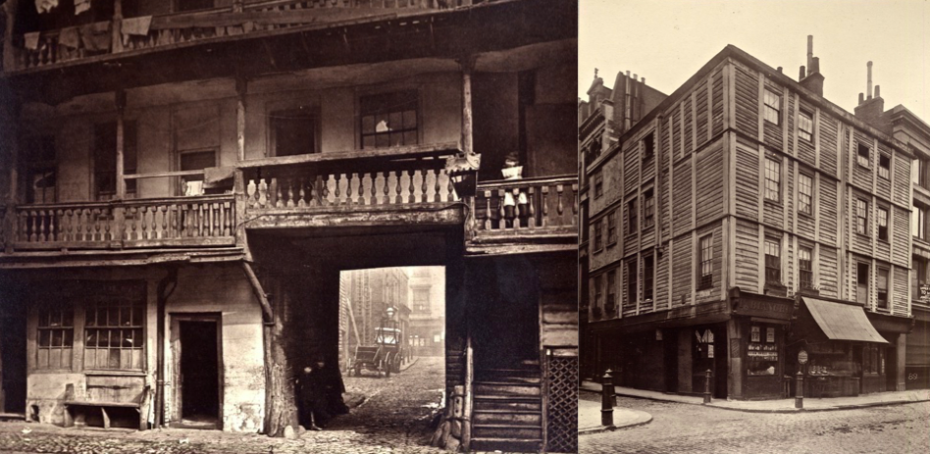 Left: Balcony at the Oxford Arms. Right: The corner of Fore St and Milton St